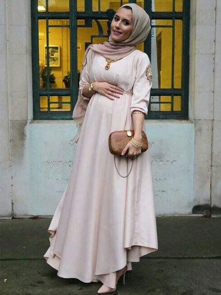صورة ملابس محجبات حوامل , استيلات ملابس محجبات للحوامل 2019