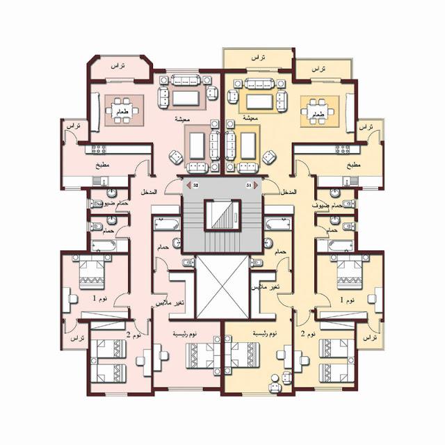 صورة مخطط شقق سكنية , رسومات هندسيه للشقق