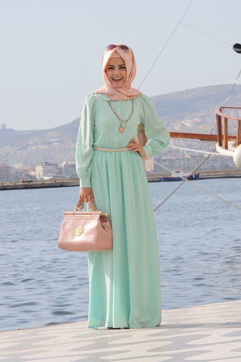 صورة اجمل ملابس محجبات , موديلات مختلفه للباس المحجبه
