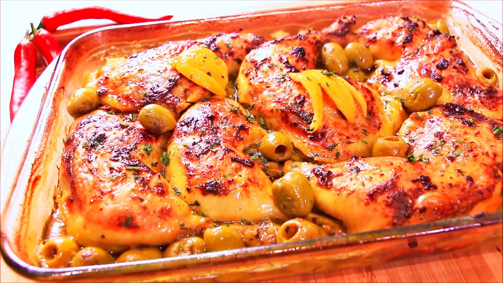 صورة دجاج محمر على الطريقة المغربية , طريقه عمل الفراخ المغربيه