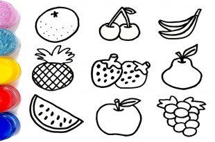 رسم فواكه للاطفال تلوين ورسم الفواكهه شوق وغزل