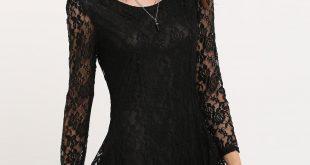 صور فستان اسود دانتيل , فساتين سهره سوداء استايل
