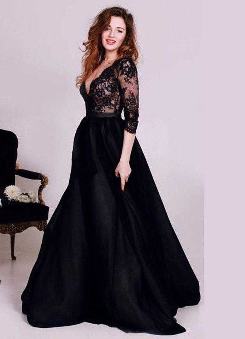 صورة فستان اسود دانتيل , فساتين سهره سوداء استايل 4532 2