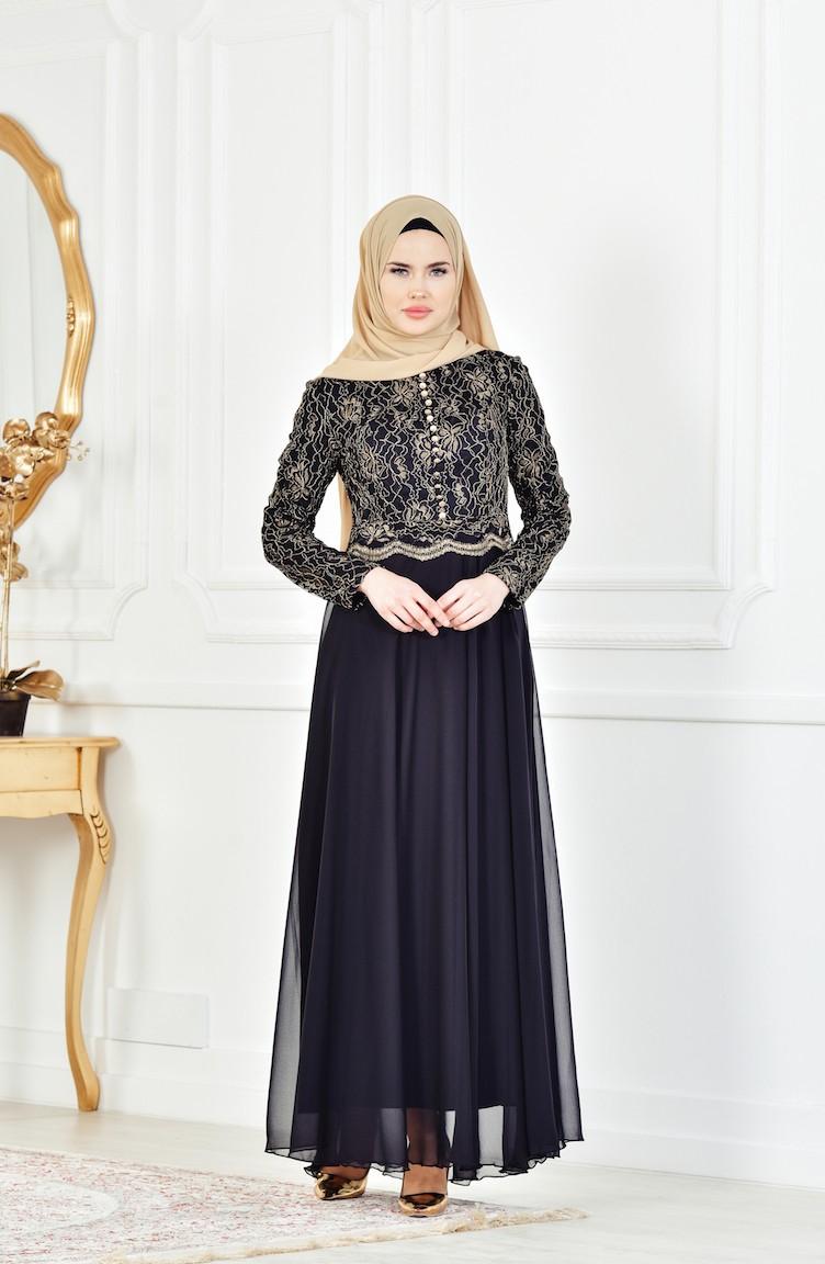 صورة فستان اسود دانتيل , فساتين سهره سوداء استايل 4532 3