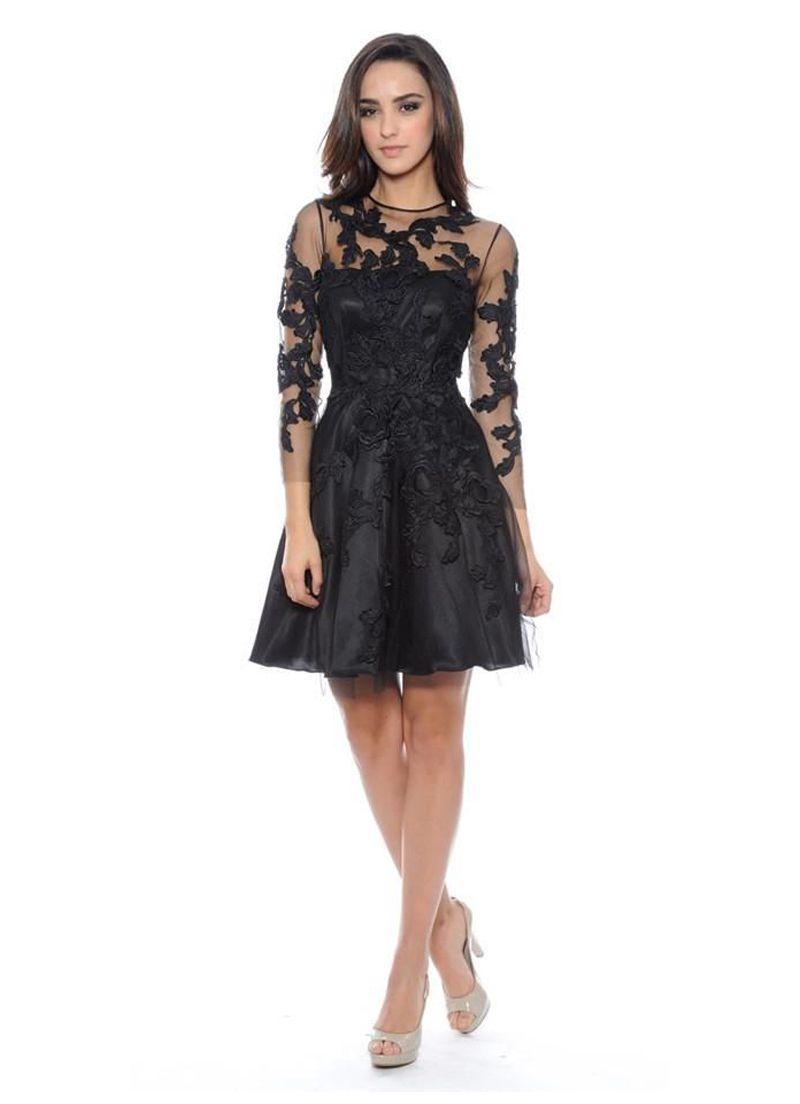 صورة فستان اسود دانتيل , فساتين سهره سوداء استايل 4532 5