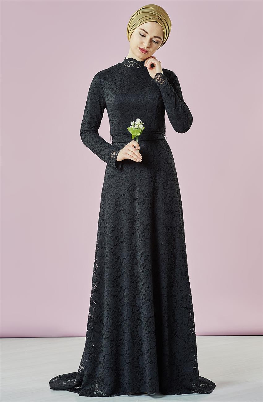 صورة فستان اسود دانتيل , فساتين سهره سوداء استايل 4532 6