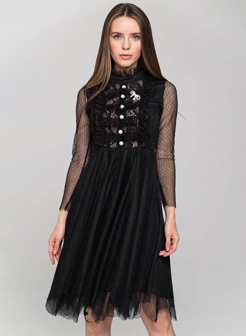 صورة فستان اسود دانتيل , فساتين سهره سوداء استايل 4532 8