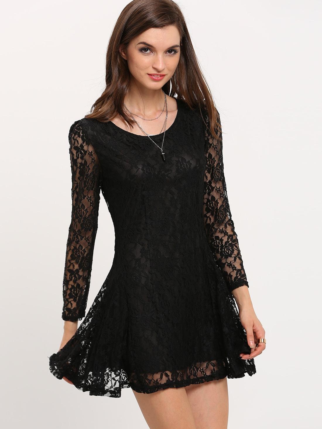 صورة فستان اسود دانتيل , فساتين سهره سوداء استايل