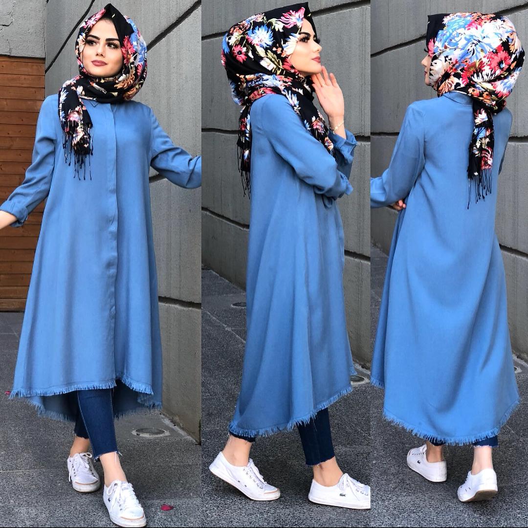 صورة احدث موضة محجبات 2019 , ازياء ملابس محجبات لصيف 2019