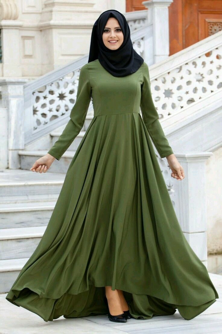 صورة احدث الفساتين للمحجبات , فساتين للمحجبات تشغل وتعجب كل من يراها