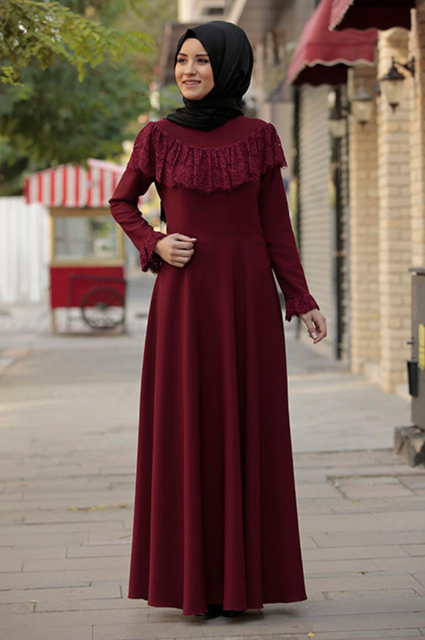 صورة تصميمات فساتين محجبات , كملى حجابك بفستان من تصميمك
