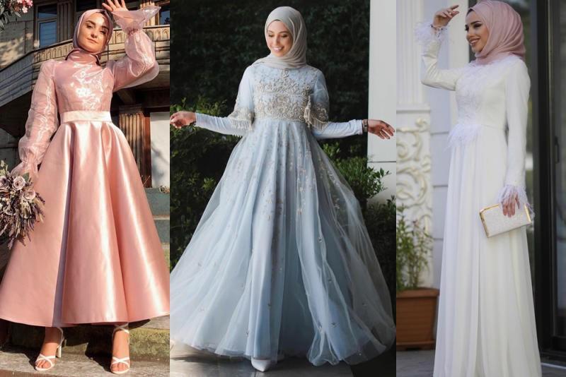 صورة فساتين سواريه محجبات 2019،موديلات عصريه لفساتين السهرات 3278 1