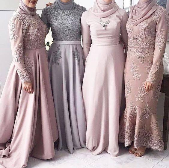 صورة فساتين سواريه محجبات 2019،موديلات عصريه لفساتين السهرات 3278 3