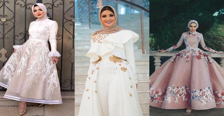 صورة فساتين سواريه محجبات 2019،موديلات عصريه لفساتين السهرات 3278 4