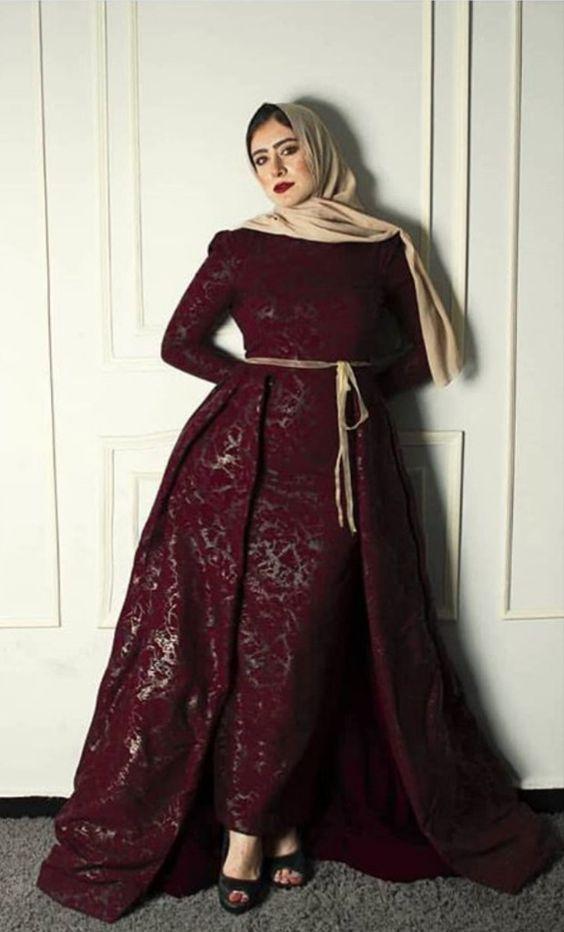 صورة فساتين سواريه محجبات 2019،موديلات عصريه لفساتين السهرات 3278 6
