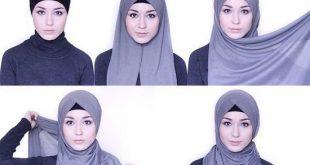 صورة طريقة لف الطرح العادية،لفات حجاب وهميه